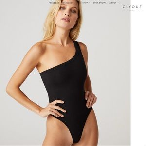 CLYQUE black one shoulder thong bodysuit